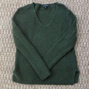 J. CREW FACTORY Olive Green V-Neck Sweater